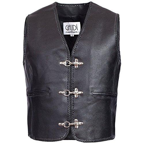 Gaudi-Leathers Herren Motorrad Lederweste Bikerweste Motorradweste Weste Kutte, E500SWXL,schwarz