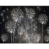 Fototapeten Pusteblumen Schwarz 352 x 250 cm Vlies Wand Tapete Wohnzimmer Schlafzimmer Büro Flur Dekoration Wandbilder XXL Moderne Wanddeko Flower 100% MADE IN GERMANY -...
