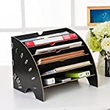 NACHEN Sektor Aktenregal Holz Multi Layer Desktop Organizer Lagerregal,Black,35.5 * 27 * 27Cm