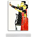 Tamatina Kalighat Canvas Paintings - Bengali Selfie Couple - Traditional Kalighat Paintings - Kalighat Paintings - Paintings For Drawing Room - Paintings For Bed Room - Kalighat Paintings For Living Room - Paintings For Wall - Paintings For Living Room -