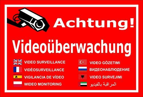 Melis Folienwerkstatt Schild - Video-überwachung - 15x10cm | Bohrlöcher | 3mm Aluverbund - S00348-011-D 20 VAR Gefälschte Video-Überwachung