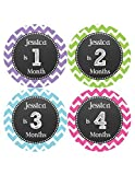 Months in Motion 512 Personalized Monthly Baby Stickers Baby Girl Month 1-12 Milestone Age