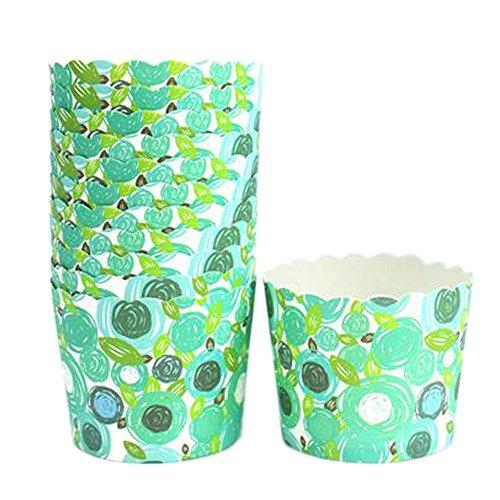 150PCS Belles tasses de papier de pâtisserie de motif Cake Cup Cupcakes Cases, Vert