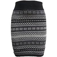 Sfera nuovo da donna Angora lana azteco stampa grigio nero breve mini gonna