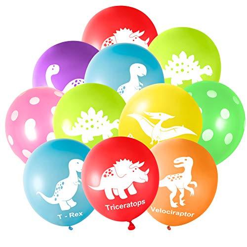 FEPITO 32 Pieces 12 'Dinosaurs Balloons Globos de látex de Dinosaurio para Decoraciones de Fiesta de Dinosaurios, 8 Colores