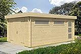 Holzgarage H26-44 mm Blockbohlenhaus, Grundfläche: 19,40 m², Flachdach