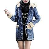 Yvelands Damen Mantel Denim Hooded Outcoat Wind Warme Jeans Outwear Mit TaschenWinter Warme Jacken Pelzkragen Denim Jacken Outcoat (EU-32/S,Blau)