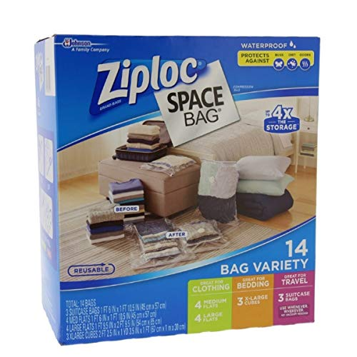 Ziploc FBA_707373 Lot de 15&nbspSacs À Gain de Place, Plastique, Transparent, 14 Bags