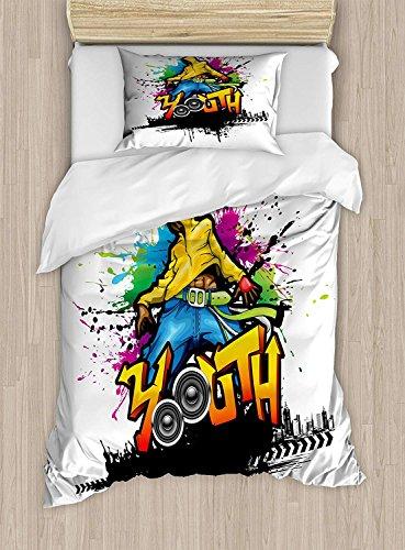 Soefipok Jugend Twin Size Bettbezug-Set, junger Mann Hip Hop Kultur Graffiti-Kunst und Straßenkultur Performer Bunte Grunge, dekorative 2-teiliges Bettwäscheset mit 1 Kopfkissenbezug, Mehrfarbig - Bettbezug Twin Männer