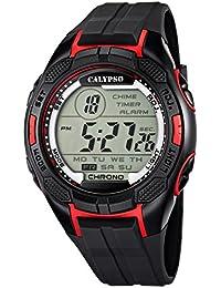Calypso Armbanduhr Herrenuhr Digitaluhr Chrono schwarz/Rot 10 ATM K5627/3