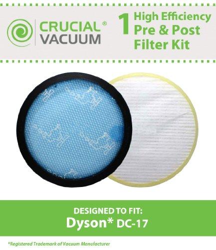 Dyson Waschbar Pre-Filter & Nicht waschbeständig Nachmotorfilter HEPA Filter passend für alle Dyson DC-17Staubsauger Modelle; Vergleichen zu Dyson Vormotorfilter Teil # 911236–01& Nachmotorfilter Filter Teil # 911235–01; Entworfen und Hergestellt von Crucial Vacuum