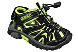 gibra Kinder Trekking Sandalen mit Klettverschluss, Schwarz/Neongrün, Gr.27