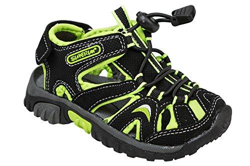 gibra® Kinder Trekking Sandalen mit Klettverschluss, schwarz/neongrün, Gr.30