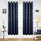 Deconovo Star Foil Printed Eyelet Curtains Ready Made Blackout Curtains for Bedroom with Two Matching Tie Backs 46 x 72 Inch Two Panels Navy Blue