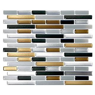 Wandora 4 Stück 27,9 x 23,4 cm 3D Mosaik Fliesenaufkleber W1391 Kupfer dunkelgrau Silber