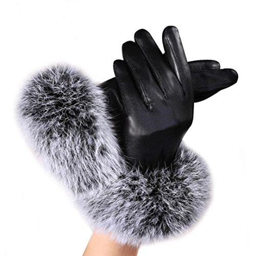 (TWIFER Damen Leder Handschuhe Herbst Winter Warm Rabbit Fur Fäustlinge (Alle Yards, schwarz))