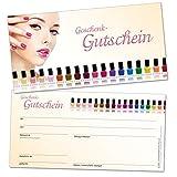 50chèques-cadeaux DIN long, design–bons pour les ongles et produits de beauté, format 21x 10,5cm en carton solide de haute qualité...