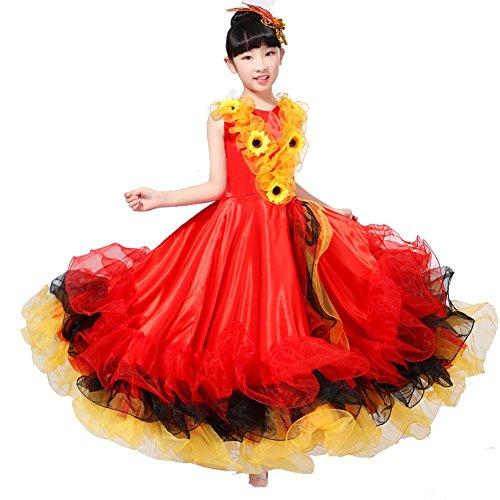 (Wgwioo Kinder Flamenco Kleider Zeigen Kostüm Rock Modernen Tanz Stier Mädchen 180 360 540 720 Grad Performance Big Swing Chorus , Red Skirt 360 , 150Cm)