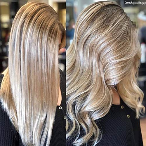 Ugeat Dream 20 Zoll Echthaar Perücke Human Hair Wig Lace Front Piano Color Ash Blonde Highlight with Bleach Blonde Real Human Hair with Natural Hairline Wavy Hair Wig