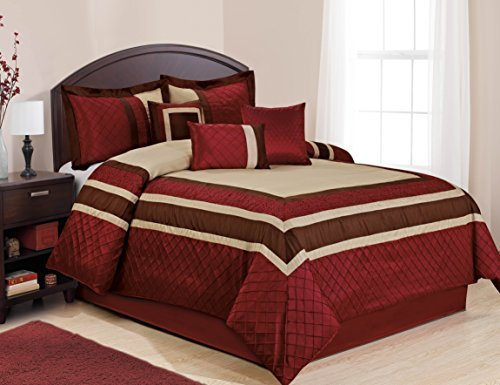 BEDnLINENS 7Stück MYA rot Bed in a Bag Tröster Sets- Queen King Cal. King Size, Polyester-Mischgewebe, rot, California King