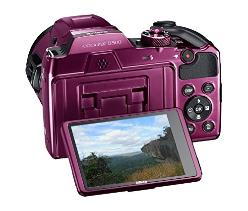 Nikon Coolpix B500 16MP Point and Shoot Camera with 40xOptical Zoom (Purple) with Card