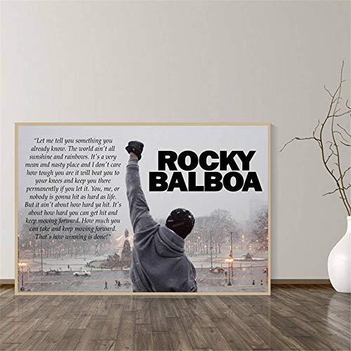Rjjwai Rocky Balboa Boxing Bodybuilding Print Poster Motivations Schwarzweiss Wandkunst Leinwand Malerei Schlafzimmer Dekoration Bild Zuhause Dekor 50x75cm