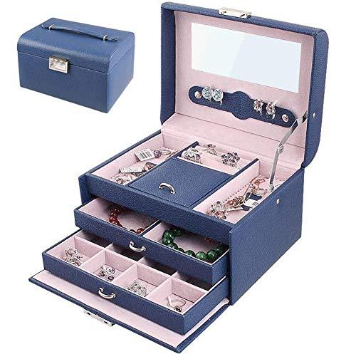 LHZHG Schmuckkästchen, Kosmetikkoffer mit 3 Ebenen, PU Schmuckkasten mit Spiegel, Geschenk für Mädchen und Damen (Farbe : Blau) -