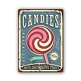 Candies Sweets 30x40 cm Lollipops blechschild Retro werbeschild rot blau