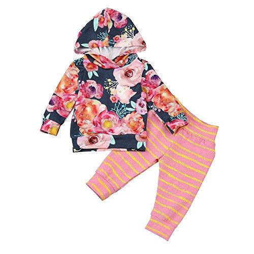 Beikoard Kleinkind Beschriftung Kapuzenpullover Hose Langarmshirt Winter Kleidung Set 0-24 Monate