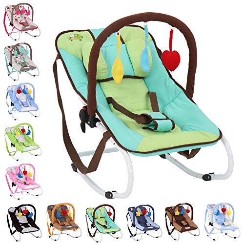 Infantastic Babywippe mit 3-Punkt-Sicherheitssystem mit stabilem Metallrohr-Gestell,  inkl. Spielbogen, 3 Spielzeuge, grün-Krokodil