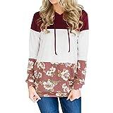 TWIFER Damen Hoodie Floral Herbst Winter Langarmshirt Kapuzenpullover Pullover Sweater