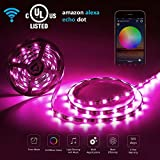 LED WIfi Streifen RGB Set LED Strip mit app-gesteuert funktioniert mit Amazon Alexa 5M 300LEDs 5050 EU Stromkabel Wasserdicht IP65