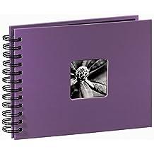 Hama Fine Art - Álbum de fotos, 50 páginas negras (25 hojas), álbum con espiral, 24 x 17 cm, con compartimento para insertar foto, lila