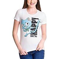 Fairy Tail Femenina Feliz Camisa de Las Señoras, de Algodón Blanco