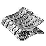Vicloon 6 Stück Edelstahl Strandtuch Clips Große Wäscheklammern, für Tägliche Wäsche, Strandtuch, Badetuch, Bettwäsche und dicke Kleidung (6 Pcs)
