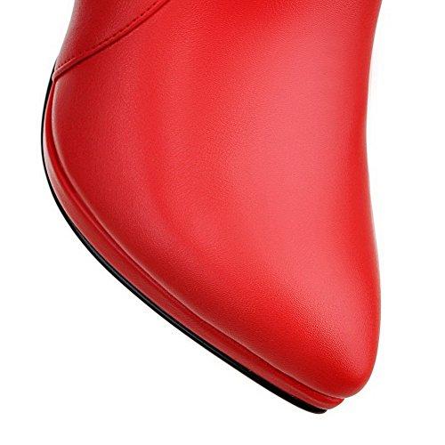 VogueZone009 Femme Zip Pointu Stylet Matière Mélangee Haut Bas Bottes avec Dentelle Rouge