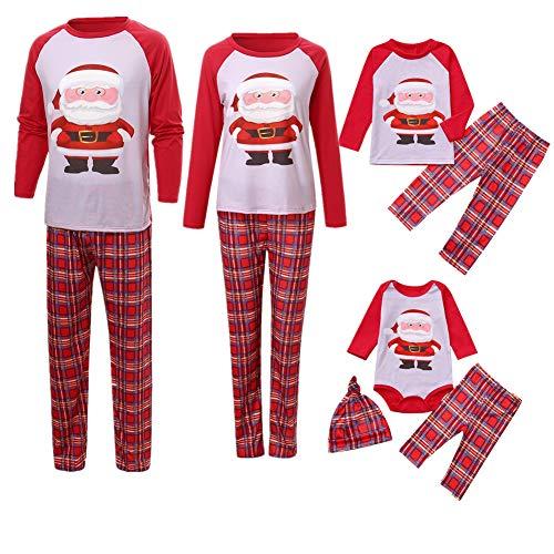 Weihnachten Familie Pyjamas Outfit Schlafanzug Nachtwäsche Damen Herren Baby Säugling Family Matching Set Xmas Zuhause Kleidung, Mama Weihnachtsmann Tops Bluse Hose(Mom,Small)