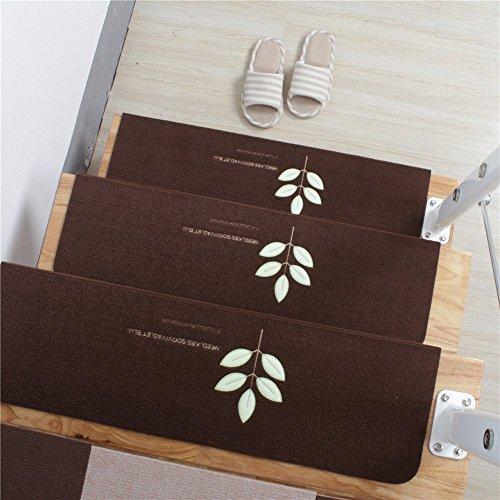 15 set di trecce per scale mats 20x70cm tappetini antiscivolo luce notturna tappetini luminosi tappezzeria antiscivolo tappeto adesivo/tappetino per tapis roulant (15 pcs, brown)