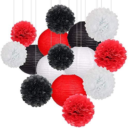 15 Stücke Party Pack Papierlaternen und Pom Pom Balls Hängende Dekoration für Halloween Hochzeit Geburtstag Baby Shower-Black/Rot/Weiß (Sich Ein Nehmen Sie Bitte Halloween)