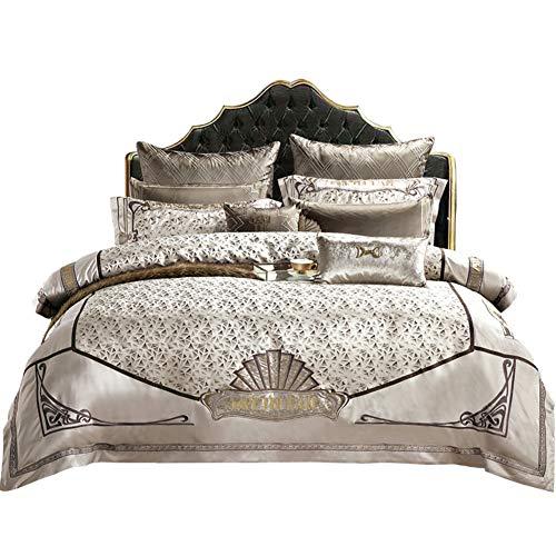 JR%L Jacquard Queen Size Bettzeug,bettwäsche-Sets Tröster Bett In Einem Beutel Weich Und Komfortabel 10 Stück Bettbezug 100% Baumwolle Percale Schlafzimmer-a Queen2 -