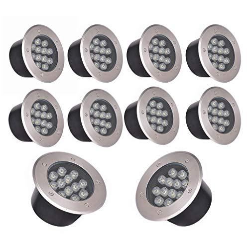 WXL LED Bodeneinbaustrahler, wasserdichte Runde Eingebettete Wegbeleuchtung Der Farbe IP68, Rasenscheinwerfer des Bodenlichts 12W (Color : Blue Light, Size : 10 Packs) -