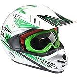Casco protector y gafas para niños - Motocross / todoterreno / ATV - Verde - L (51-52 cm)