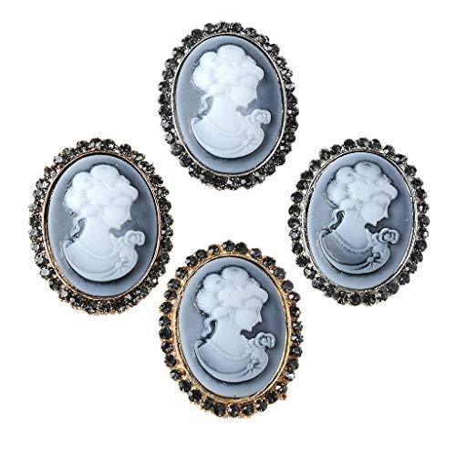 Fenteer 4 Stück Vintage Oval Strass Kristall Schaftknöpfe Zum Nähen Dekoration