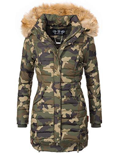 Navahoo Damen Winter Mantel Steppmantel Täubchen (vegan hergestellt) Camouflage Gr. L -