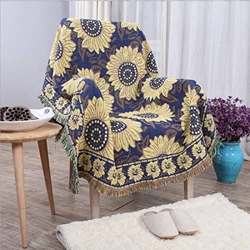 BERYLSHOP Manta Edredón Sofá de algodón Tejido Sofá Manta con borlas Decorativas...