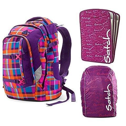 satch Pack Tropic Thunder 3-teiliges Set Rucksack, Triple Flex & Regenhaube lila