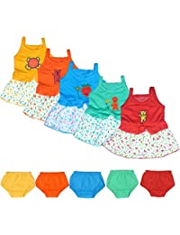 VINAB Girl's Cotton Casual Frocks For born Baby (Multicolor _3 Months to 1 Year) - Pack of 5