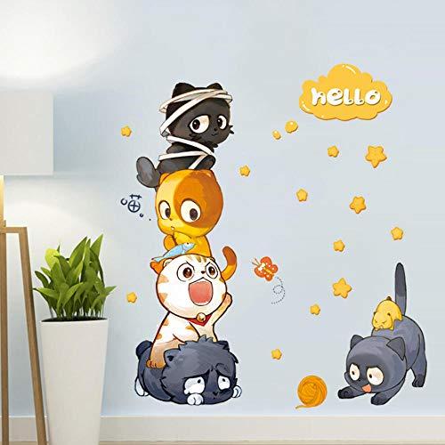 Cartoon Katze Kleiderschrank Schlafzimmer Kühlschrank Tür und Fenster Aufkleber Kinderzimmer Hintergrund Wanddekoration Wandaufkleber