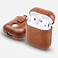 Airpods Case Cover PU Leather Light Brown - Protective Case Compatible with Apple Airpods 1 Wireless Charging – Metal Keychain Holder Included – Accessories Kits