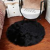 Alfombras redondas para asiento de silla de piel sintética suave de oveja para asiento de suelo o silla de peluche, alfombras para decoración del hogar o dormitorio 40 x 40 cm negro